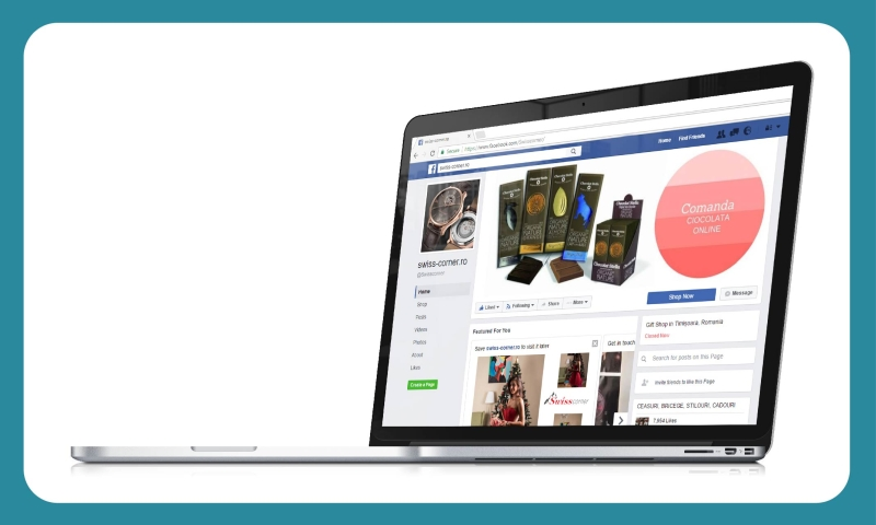 Pagina Facebook Swiss Corner creata de Tell Agency